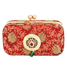 Buy FAVOLA DESIGNER CLASSY RED  GOLDEN  BOX CLUTCH WITH ROUND ETHNIC BROOCH clutch online