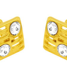 Buy Square american diamond  gold plated cufflink for men gifts-for-dad online