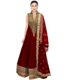 Buy red embroidered Raw Silk semi stitched salwar anarkali-salwar-kameez online