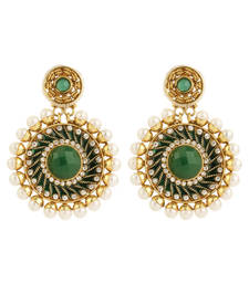 Buy Pure collection ethnic indian green colour antique gold plated pearl earrings danglers-drop online