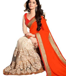 Buy orange embroidered faux georgette saree With Blouse tamanna-bhatia-saree online
