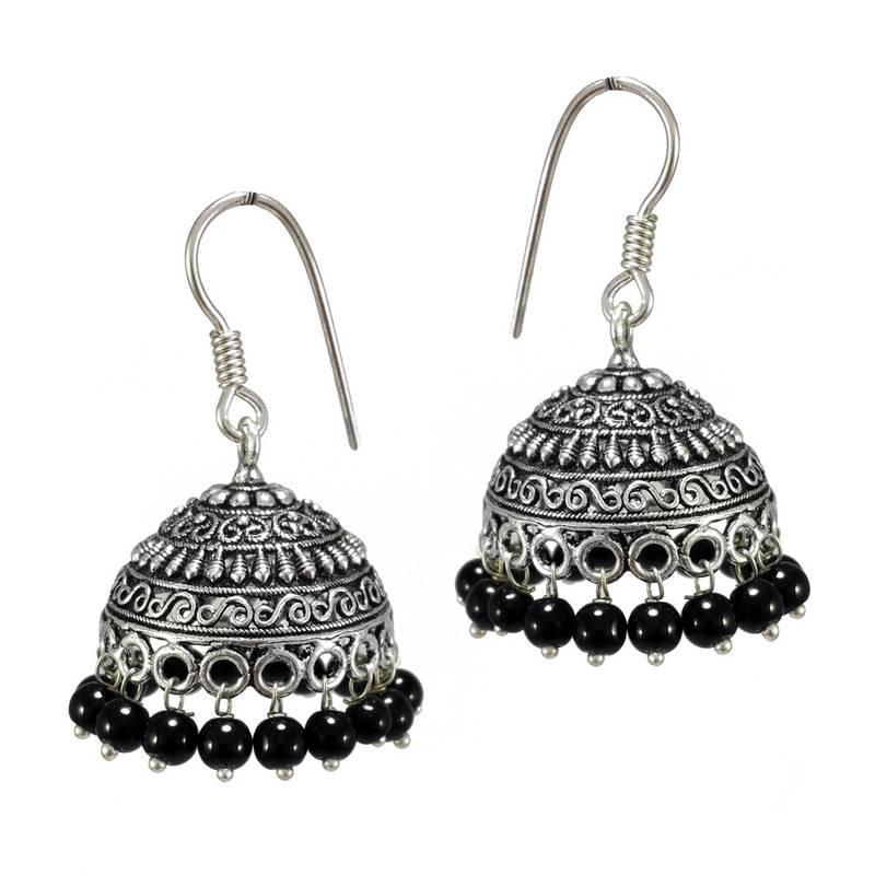 buy s shape print black black metal jhumka earrings