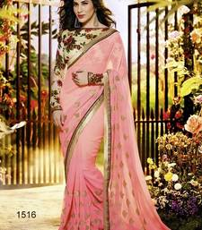 Buy Gajri Embroidered Georgette Saree With Bloluse Online