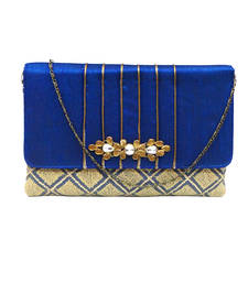 Buy Checkered Clutch with Snazzy Brooch (Blue) clutch online