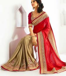 Buy Red embroidred georgette saree with blouse Saree online