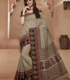 Buy Beige printed Gadwal Cotton saree With Blouse kalamkari-saree online