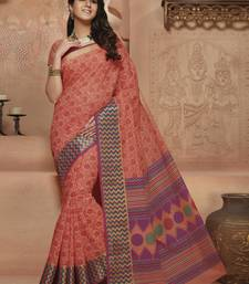 Buy Orange printed Gadwal Cotton saree With Blouse kalamkari-saree online