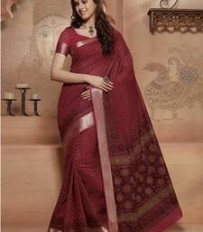 Buy Maroon printed Gadwal Cotton saree With Blouse kalamkari-saree online