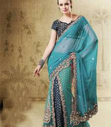 Buy Rama Shaded Net, Jacquard, Velvet Embroidered Saree SC 2514 net-saree online