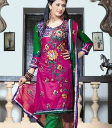 Buy Pink Green  Cotton Chanderi Pakistani style dress material SC324 pakistani-salwar-kameez online