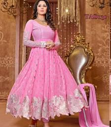Light pink georgette embroidered semi stitched salwar with dupatta shop online