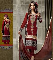 Buy Brownish Maroon Georgette Chanderi Pakistani style dress material SC 1085 pakistani-salwar-kameez online