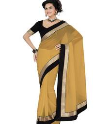 Buy Beige embroidered Chiffon saree With Blouse designer-embroidered-saree online