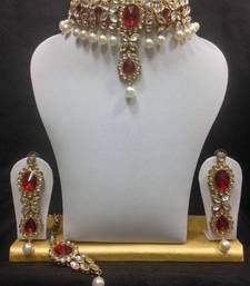 Buy Close Neck Style Kundan Jewelry in White with Red and Pearls necklace-set online