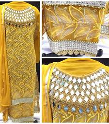 Buy Yellow net embroidered semi stitched salwar with dupatta pakistani-salwar-kameez online