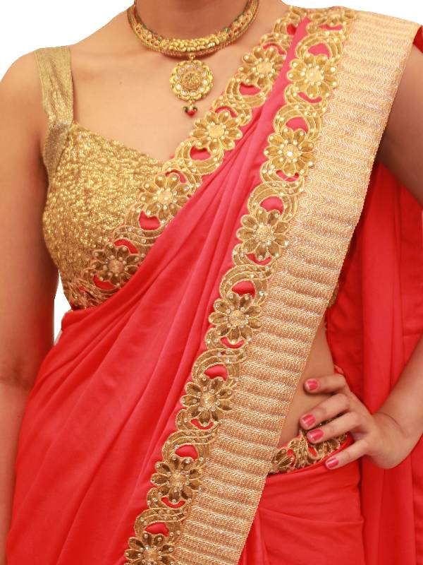 Buy Tomato Red Satin Velvet saree with Antique Gold border ...
