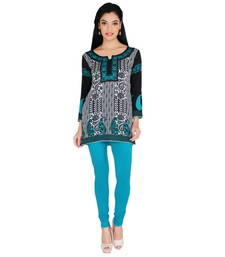 Buy Green and black american crepe printed stitched kurti kurtas-and-kurti online