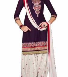 Buy Purple cotton embroidered semi stitched salwar with dupatta cotton-salwar-kameez online