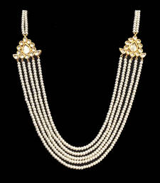 Buy Kundan and pearls multistrand necklace Necklace online