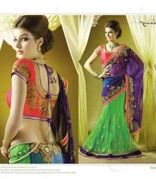 Buy  Georgette Blue Green Embroidered Lehenga Saree BlouseSC4007 lehenga-saree online