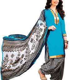 Buy Blue printed glaze cotton unstitched salwar with dupatta punjabi-suit online