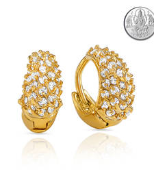 Buy Collection Gold Plated Stones Hoop Earrings For Women with Free Silver Laxmi Coin ER hoop online