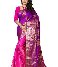 Buy Pink plain art silk saree With Blouse art-silk-saree online
