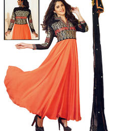 Buy Salwar Studio Orange & Black semi georgette Anarkali designer semistitched churidar kameez with dupa semi-stitched-salwar-suit online