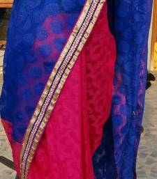 Buy Blue patterned kota with hot pink chanderi pleats finished with gold patterned zari border chanderi-saree online