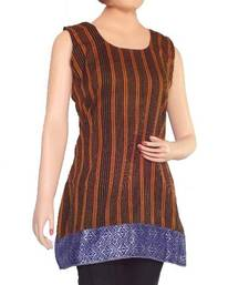 Buy Ethnic Touch - Black and Yellow with weaving patch work kurtas-and-kurti online