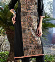 Buy Black cotton printed stitched kurti cotton-kurti online