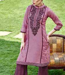 Buy Dusty magenta cotton silk printed stitched kurti cotton-kurti online