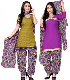 Buy Multicolour crepe printed semi stitched salwar with dupatta salwar-combo online