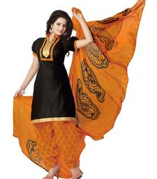 Buy Black cotton printed semi stitched salwar with dupatta dress-material online