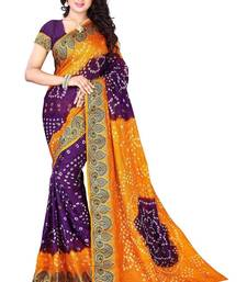 Buy Purple printed art silk saree With Blouse bandhani-sarees-bandhej online