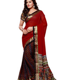 Buy Red printed viscose saree With Blouse viscose-saree online