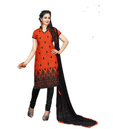 Buy Orange embroidered jacquard and cotton unstitched salwar with dupatta dress-material online