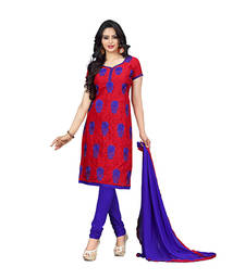 Buy Red embroidered jacquard and cotton unstitched salwar with dupatta dress-material online