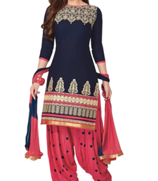 Buy Blue cotton embroidered semi stitched salwar with dupatta patiala-salwar online