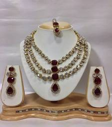 Buy Famous Crystal Jewelry Set in Maroon necklace-set online