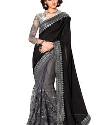 Buy Black and Grey embroidred georgette saree with blouse ombre-saree online