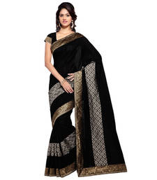 Buy Black hand woven banarasi silk saree with blouse banarasi-silk-saree online