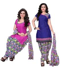 Buy Pink and navy blue crepe printed semi stitiched salwar with dupatta salwar-combo online