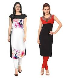 Buy White and black faux crepe printed stitched kurti long-kurti online