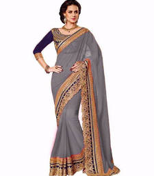 Buy grey embroidered chiffon saree With Blouse party-wear-saree online