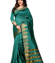Buy rama green woven cotton poly saree With Blouse south-indian-saree online