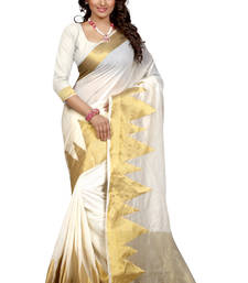 Buy white woven cotton poly saree With Blouse south-indian-saree online