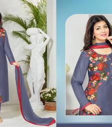 Buy Dark blue cotton embroidered semi stitched salwar with dupatta cotton-salwar-kameez online