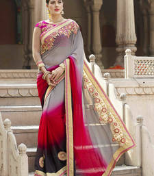 Buy multicolor embroidered faux georgette saree With Blouse wedding-saree online