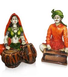 Buy Rajasthnai Couples Playing Tabla & Harmonium sculpture online